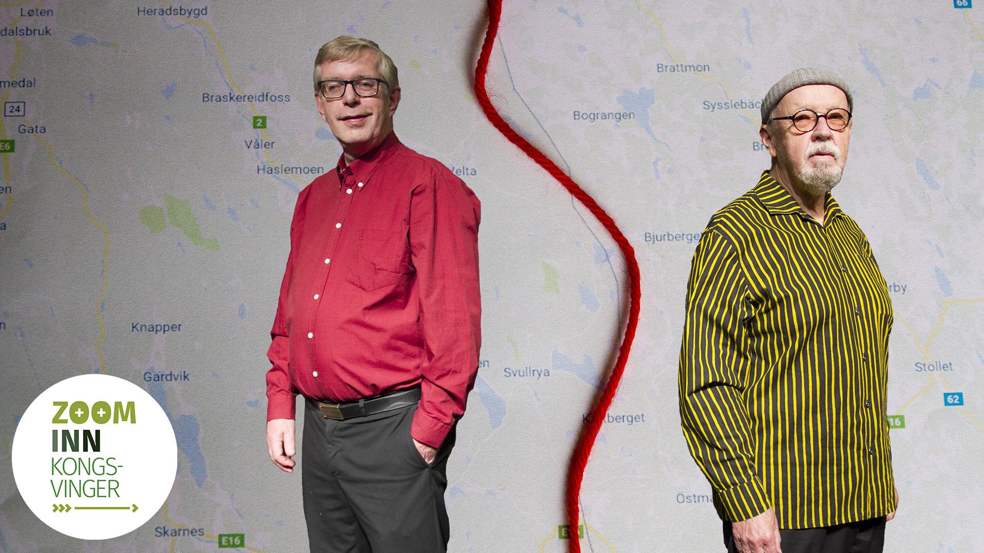 To menn står foran et kart