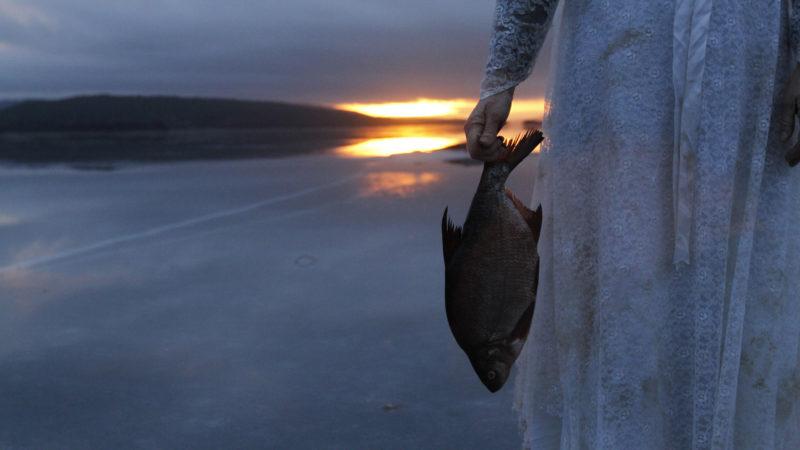 Dame holder en død fisk